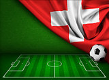 Soccer or football background with flag of Switzerland