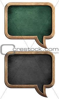 blackboards or chalkboards set in shape of speech bubble isolate