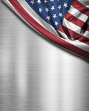 USA flag over metal background