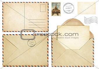Old postcard, mail envelope, open letter, stamp collection