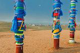 Buryat pillars and village in the distance