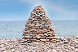 Pile of stone ashore