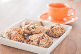 Closeup mixed nut cookies with espresso shot
