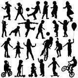 Group of active children, hand drawn sillhouettes of kids playin