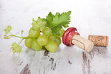 Wine corks, white grapes and wine leaves.