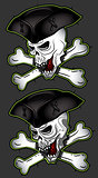 horror pirate dead man skull with hat
