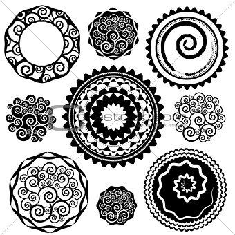 grungy geometric flower shape digital vector stamps
