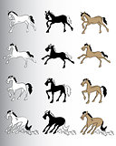 running horse cartoon vector