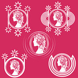 woman portrait decorative design shape illustration