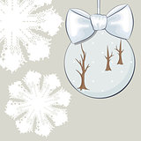 Christmas bauble with bow and snowflakes