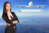 Thoughtful businesswoman and search string with passenger airplane