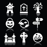 Halloween vector white icons set on black