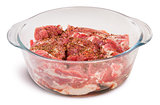 Raw Pork With Spices In A Glass Bowl