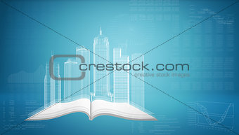 Glowing wire-frame buildings on open empty book