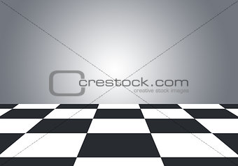 Floor with checkerboard texture and gray wall