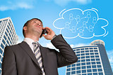 Businessman talking on the phone. Cloud with people icons
