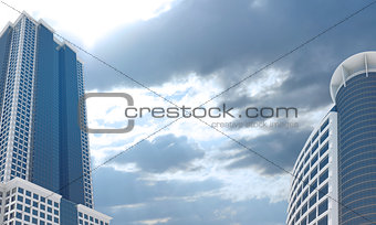 Skyscrapers and evening sky with clouds