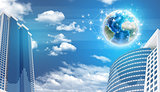 Skyscrapers and Earth with network