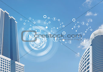 Skyscrapers and sky with network