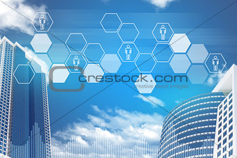 Skyscrapers, sky and hexagons with people icons