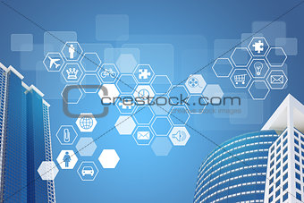 Skyscrapers and hexagons with icons