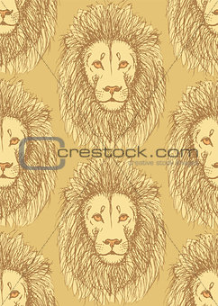 Sketch cute lion in vintage style