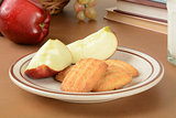 Sliced apple and cookies