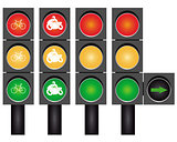Four road traffic lights