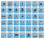 simple blue, grey vector icon set