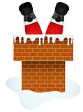 Santa Claus entering through the Chimney