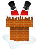 Santa Claus entering through the Chimney