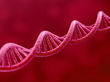 DNA on red background