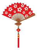 Chinese Fan with Cherry Blossom Flowers Design