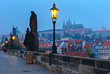 Charles Bridge in Prague (Czech Republic) at night lighting