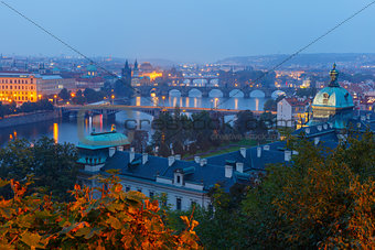 Aerial view over the bridges on the Vltava River in Prague, Czec