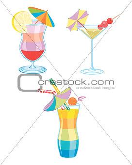 Four cocktails set