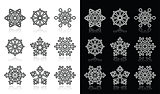 Snowflakes, winter black and white icons set