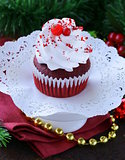 festive red velvet cupcakes Christmas table setting
