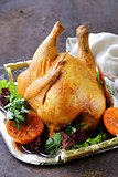 baked chicken with oranges and herbs for festive dinner