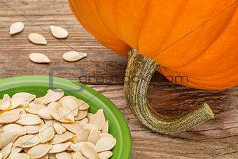 bowl of fresh pumpkin seeds
