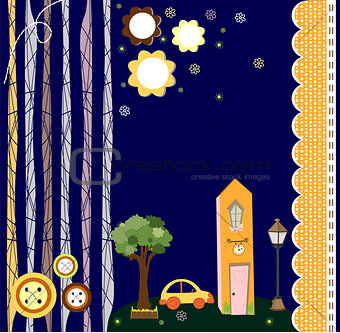card with houses. Vector paper-art illustration cute