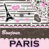 Paris.Romantic greeting card cute art vector illustration
