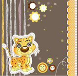 Cute cat running. Vector illustration art leopard
