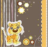 Cute cat running. Vector illustration art leopard