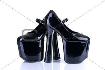 Pair of black fetish shoes