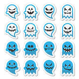 Halloween scary ghost, spirit vector icons set