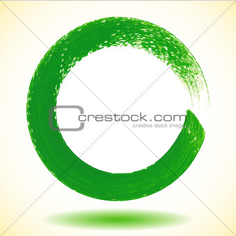 Green paintbrush circle vector frame