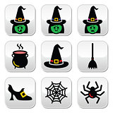 Witch Halloween vector buttons set