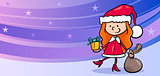 girl santa greeting card cartoon