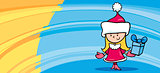 little girl santa greeting card cartoon